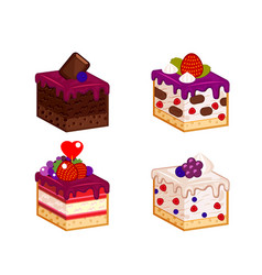 Cakes pieces set vector