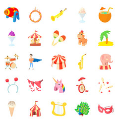 carnival icons set cartoon style vector image vector image
