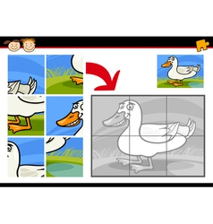 Cartoon duck jigsaw puzzle game vector