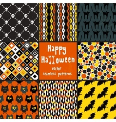 Collection of halloween seamless patterns vector image vector image