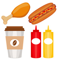 Colorful fast food icon set poster vector