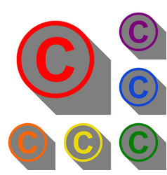 Copyright sign set of red orange vector