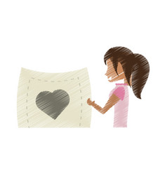 Drawing woman romance holding card heart vector