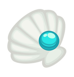 Exquisite shell with blue shine pearl isolated on vector
