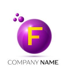 F letter splash purple dots and circle bubble vector