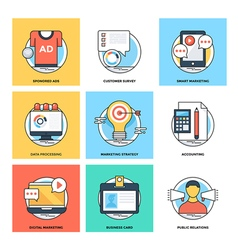 Flat color line design concepts icons 18 vector
