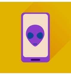 Flat web icon with long shadow mobile virus vector