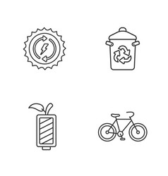 Four flat eco icons vector