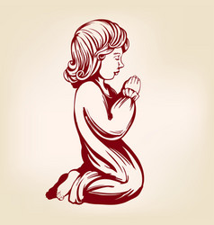 girl child praying on his knees religious symbol vector image