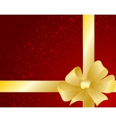 Greeting red card with glossy ribbon and bow vector image