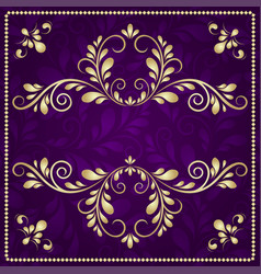 Luxury gold pattern frame on purple background vector