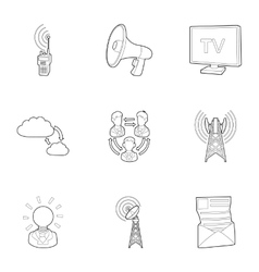 Online icons set outline style vector image vector image