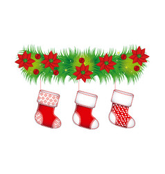 Ornament christmas flowers with boots christmas vector