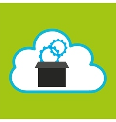 Pc cloud gear digital web vector