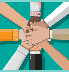 people showing unity with their hands together vector image vector image