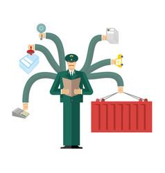 Russian customs service at work officer job vector
