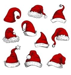 Santa christmas red hats set vector image