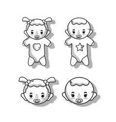 Set babies with haistylec and pacifier vector
