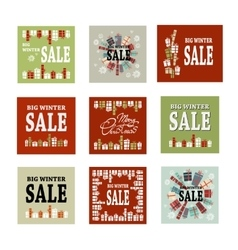 Set winter sale background with black red and vector