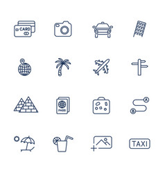 Set with different travel icons vector