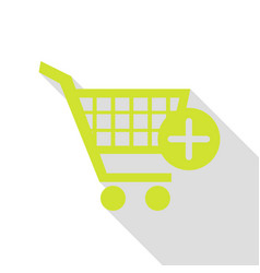 Shopping cart with add mark sign pear icon with vector