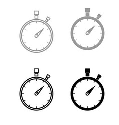 The stopwatch the black and grey color set icon vector