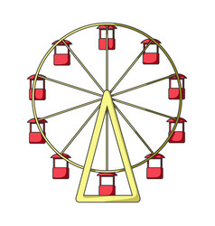 The wheel is in the amusement park slow vector