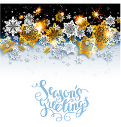 Winter background with shine snowflakes vector