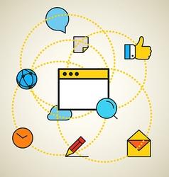 Modern communication scheme Flat design concept vector image