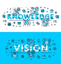 Knowledge and vision modern style heading title vector