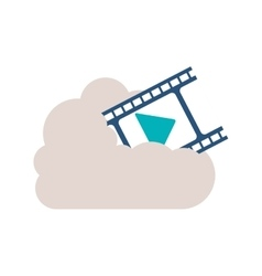 Filmstrip with play buttom into the cloud vector