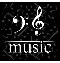 Music poster with treble and bass clef vector