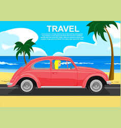 Young blonde driving retro car along the sea coast vector