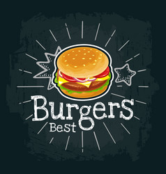 Burger include cutlet tomato cheese and salad vector
