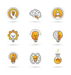Creative idea logo set with human head brain vector