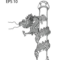 Chinese style dragon statue line sketch up vector