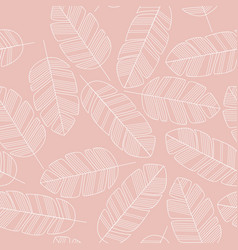 Seamless pattern with white leaves on pink vector