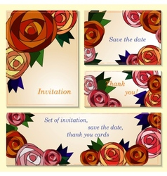 Invitation save the date cards with mosaic roses vector image