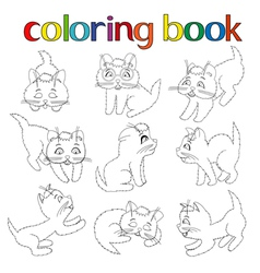 Set of nine playful kittens for coloring book vector image