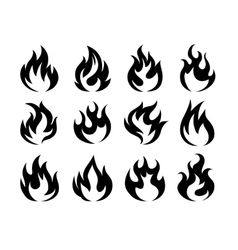 Black fire flame icons vector