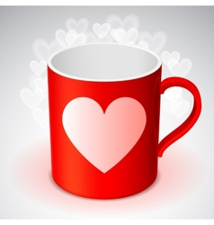 Cup with heart symbol vector