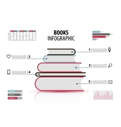 Set of books infographic with steps vector