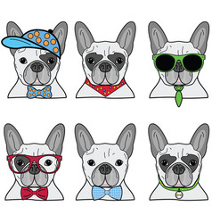 French bulldog icons ii vector