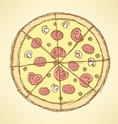 Sketch tasty pizza in vintage style vector