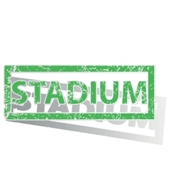 Green outlined stadium stamp vector