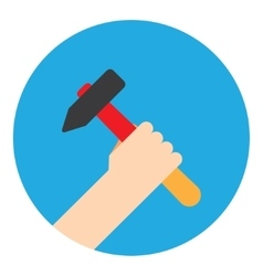 Symbol hand with hammer vector