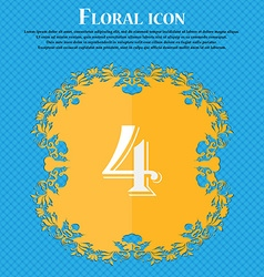 number four icon sign Floral flat design on a blue vector image