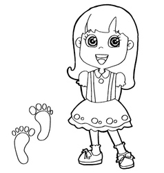 Kid with paw print coloring pages vector