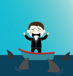Scared businessman on boat surrounded by shark vector