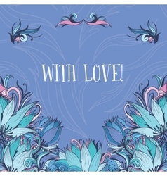 Decorative Card with Lotus Flowers vector image